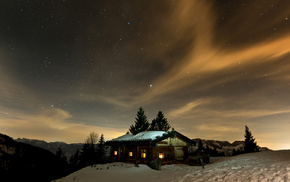 lodge, snow, mountain, lights, sky