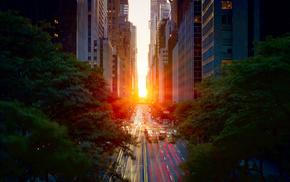 закат, Город, солнце, города, машины, дорога