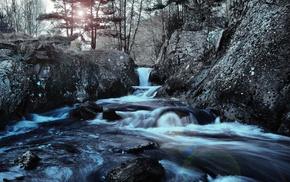 stones, river, nature, landscape