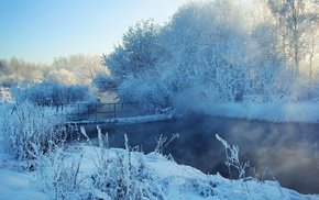 река, Зима, деревья, снег, мост