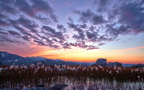 sunset, nature, mountain, landscape