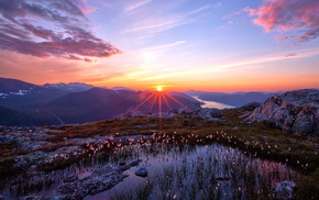 mountain, sunset, nature, landscape