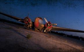 airplane, aircraft, night
