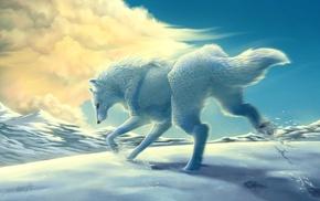 animals, snow, wolf, clouds, mountain