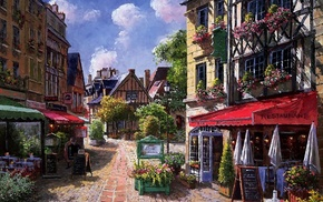flowers, cities, painting, street, houses