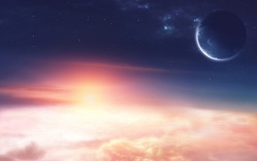 space, light, sunrise, planets, clouds