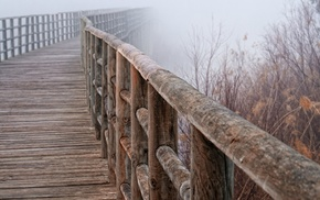 mist, nature, bridge, cloudy
