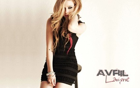 bracelets, simple background, black dress, blonde, blue eyes, Avril Lavigne