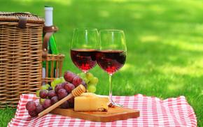grass, delicious, nature, basket, stemware
