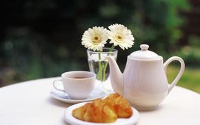 cup, vase, delicious, tea, flowers