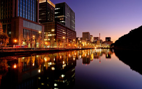 evening, night, Japan, lights, city