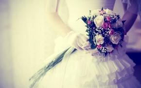 bouquet, flowers, stunner, dress, gloves