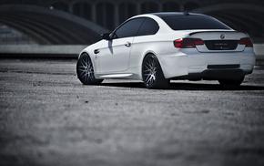 m3, cars, BMW, rear view, white
