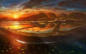 island, sunset, anime, beautiful