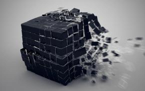 осколки, 3d, взрыв, Куб