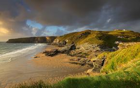 ocean, England, beach, rocks, coast