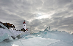 landscape, lighthouse, winter, nature