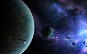 planets, rings, ship, nebula, space
