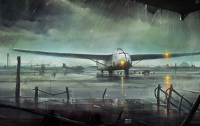 cloudy, rain, aircraft, airplane, art