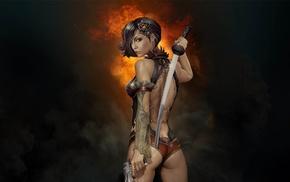 katana, gun, pistol, sword, girl