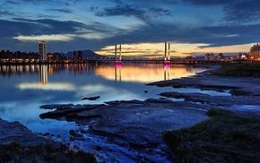 city, sky, cities, bridge, water