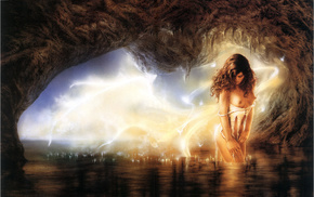 cave, fantasy, girl