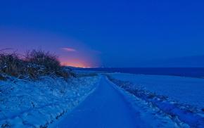road, field, winter, nature, night
