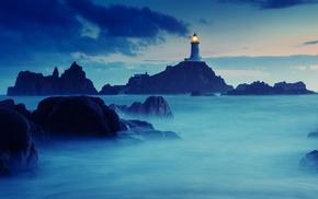 nature, lighthouse, sea, rock