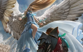 angel, art, wings, fantasy, girl