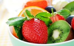 киви, berries, strawberry, вкусно, Клубника, апельсин