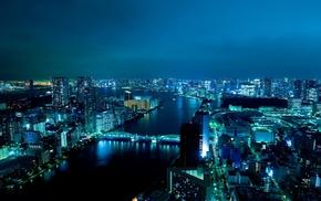 river, cities, lights, bridge, city