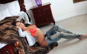 fashion model, girls, bed, room, cutie