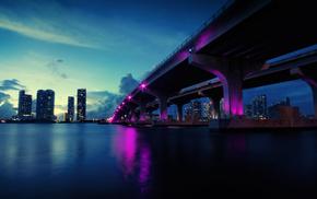 cities, bridge, evening, river, skyscrapers