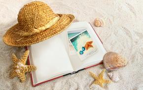 sand, hat, book, stunner