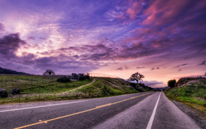 sunset, HDR, landscape, road, nature