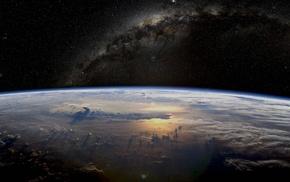 планета, земля, звезды, млечный путь, космос