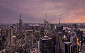 city, skyscrapers, New York City, cities, river