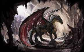 dragon, cave, sunlight, wings, fantasy