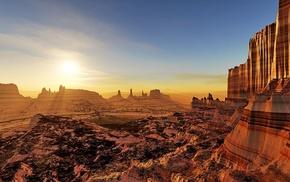 sunset, rocks, landscape, art, Sun