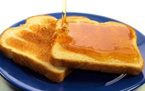 вкусно, Тосты, мед, завтрак, тарелка, хлеб