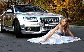 хром, машина, блестящая, Audi, автомобили, осень
