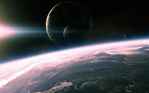 space, light, planets, surface