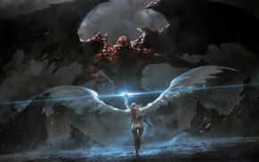 wings, girl, magic, rocks, fantasy