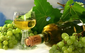 delicious, bottle, wineglass, wine, grapes