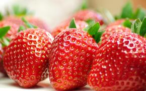macro, delicious, food, berries, strawberry