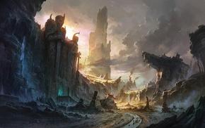 rocks, waterfall, fantasy, mountain, landscape