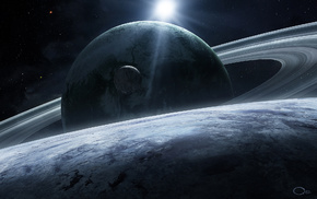 art, rings, satellite, stars, space