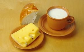 чашки, молоко, вкусно, Стол, сыр, блюдца