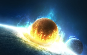 space, fire, explosion, planets
