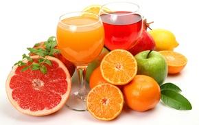 фрукты, апельсины, лимон, Соки, вкусно, грейпфрут